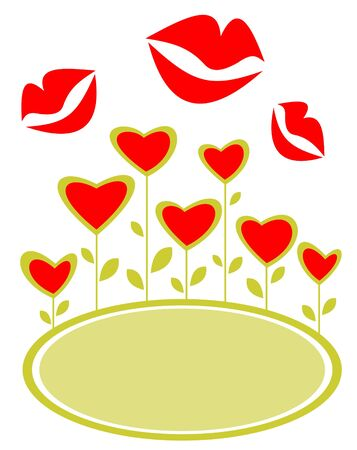 Stylized hearts and kisses frame isolated on a white background. Valentines illustration. Vector