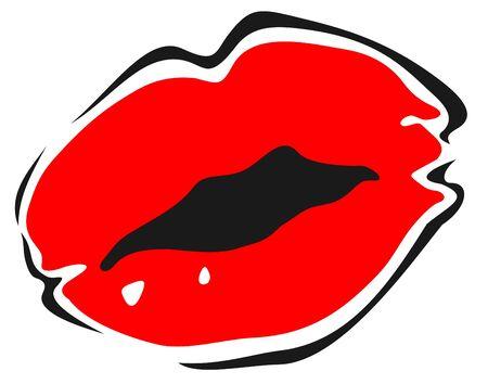 labios sexy: Sexy labios rojo estilizado aisladas sobre fondo blanco.