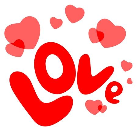 carta de amor: Caricatura de amor y corazones aislados sobre fondo blanco. San Valent�n ilustraci�n.