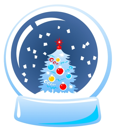 Cartoon snow globe isolated on a white background. Vector