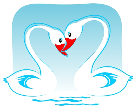 Two white cartoon swans on a blue background. Valentines illustration. Vector