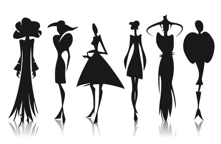 siluetas mujeres: Seis mujeres estilizadas siluetas aisladas sobre fondo blanco.