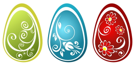 Three stylized Easter eggs with flower pattern isolated on a white background. Vector