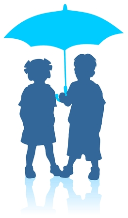 Blue girl and boy silhouettes with umbrella. Vector
