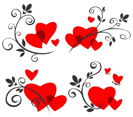 heart drawing: Stylized romantic pattern set  with hearts and butterflies. Illustration