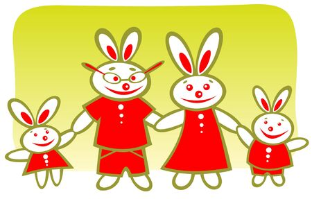 Cheerful cartoon rabbits family on a green background. Stock Vector - 4226147