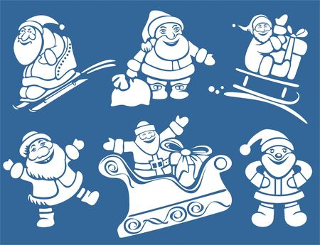 clauses: Cartoon Santa Clauses isolated on a blue background. Christmas illustration. Illustration