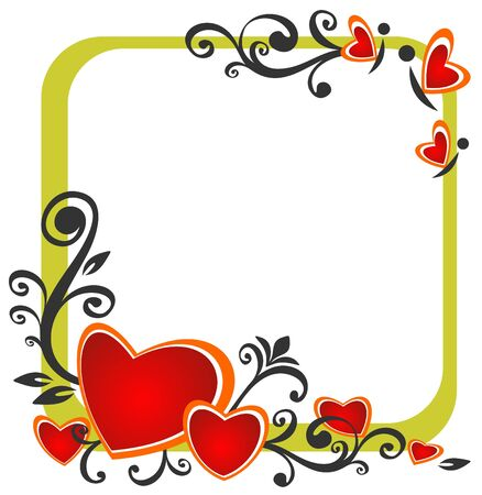 romantic picture: Stylized romantic pattern  with hearts and floral pattern.