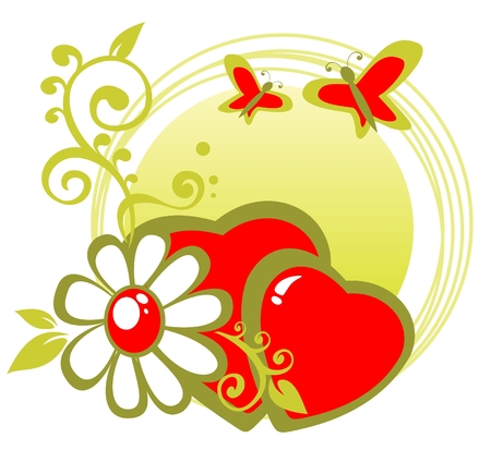 Cartoon hearts and  flower frame with butterflies. Vector