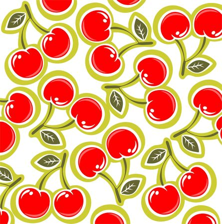 fruit clipart: Ornate cherry pattern isolated on a white background.