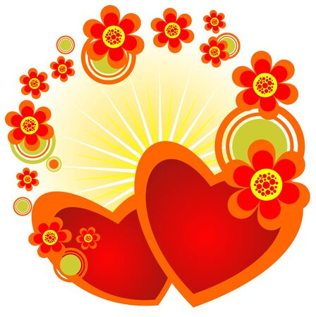 Cartoon hearts and  flowers border  on a yellow background.