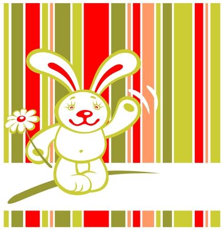 Cartoon happy rabbit on a striped background. Valentines illustration. Vector