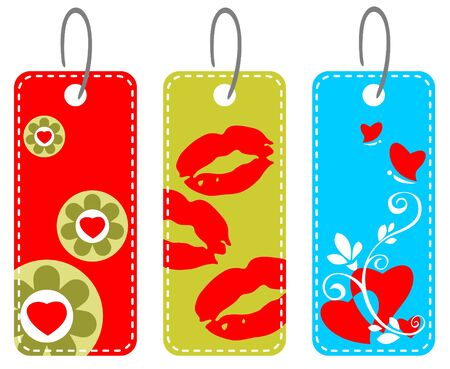 Three valentines price tags isolated on a white background. Vector
