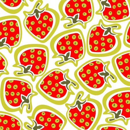Ornate strawberry pattern isolated on a white background. Vector