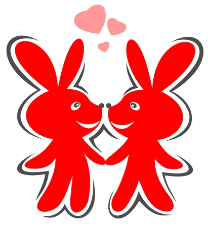 Two red cartoon enamored rabbits isolated on a white background. Vector