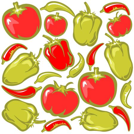 paprika: Cartoon tomatoes, pepper and paprika on a white background.