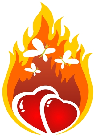 red love heart with flames: Caricatura corazones ardientes con mariposas. San Valent�n ilustraci�n.