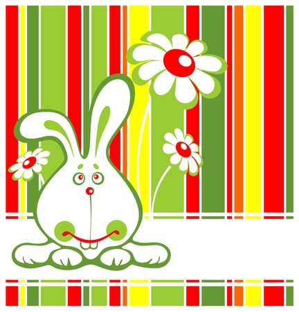 Cartoon rabbit and flowers on a striped background. Stock Vector - 4277985