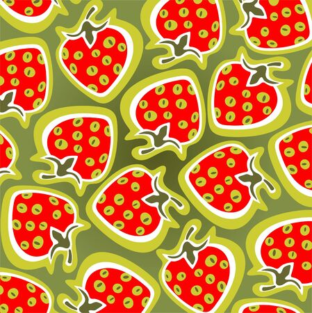 Ornate strawberry pattern isolated on a green background. Vector