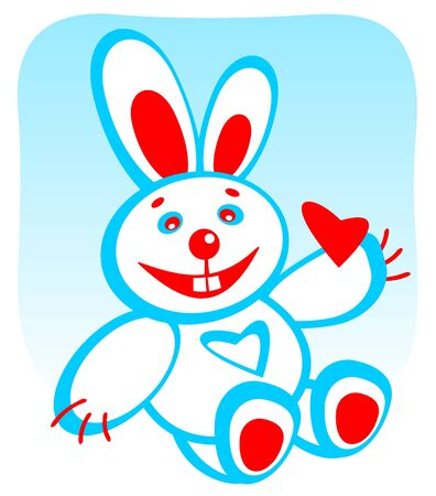 enamored: Cartoon enamored rabbit with heart on a blue background. Valentines illustration.