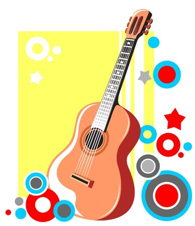 music figure: Ornate guitarra y el patr�n abstracto sobre un fondo amarillo. Vectores