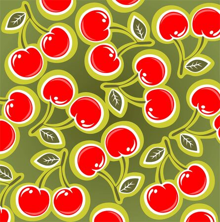 cherries isolated: Ornate cherry pattern isolated on a green background.
