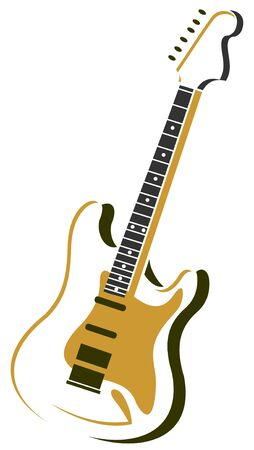 Stylized electric guitar isolated on a white background.