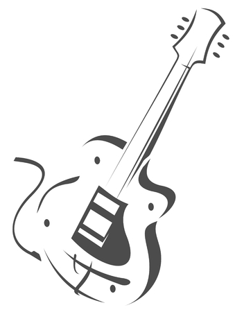 dessin noir blanc: Silhouette stylis�e guitare �lectrique isol� sur un fond blanc.