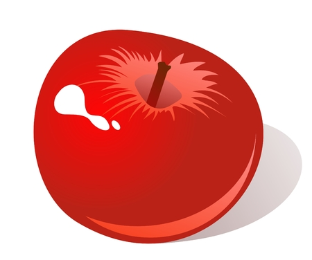 juicy: Stylized red apple isolated on a white background.