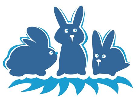 Three cartoon rabbits isolated on a white background. Vector