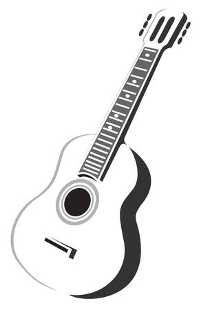 Stilisierte Silhouette akustische Gitarre isoliert auf weißem Hintergrund. Vektorgrafik