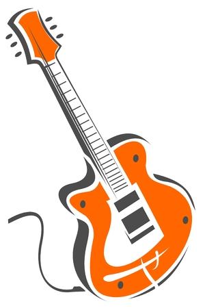 白い背景で隔離の様式化されたエレク トリック ギター。