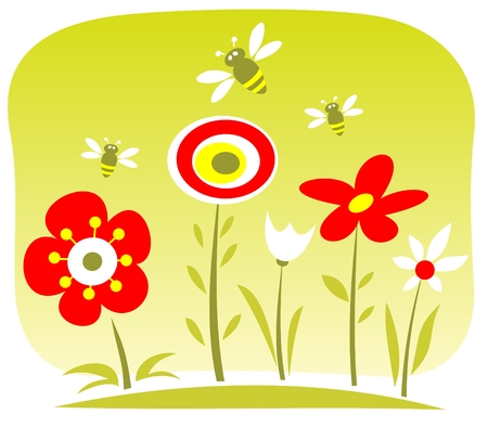 Cartoon flowers and bees  on a green background. Vector