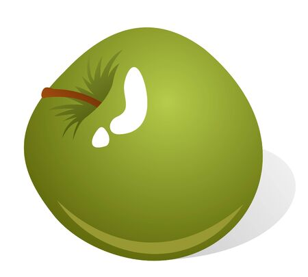 Stylized green apple isolated on a white background.