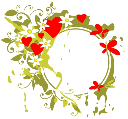 Romantic frame with hearts and flowers  on a green background. Vector