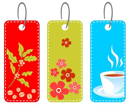 coffee cup vector: Three price tags isolated on a white background.