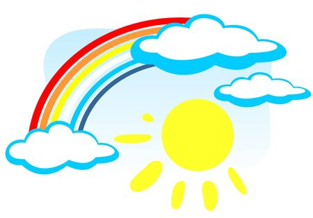 Cartoon rainbow with clouds and sun on a blue background. Vector