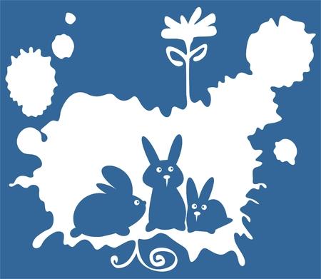 Three cartoon rabbits on a blue grunge background. Vector