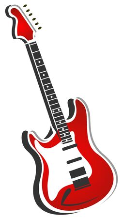 Stylized red electric guitar isolated on a white background. Illustration