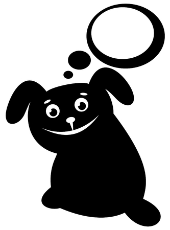 Cartoon black happy dog isolated on a white background. Vector
