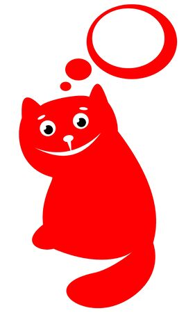 Cartoon red happy cat isolated on a white background. Vector