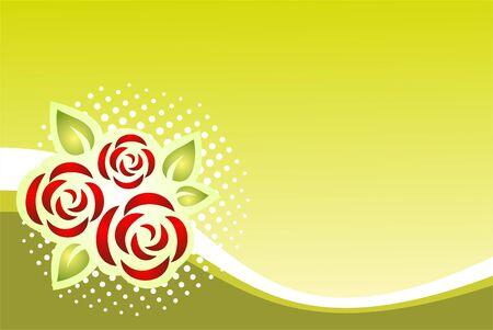 Stylized roses pattern on a green striped background. Illustration