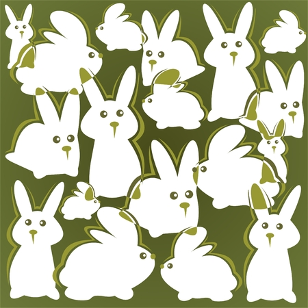 Cartoon  rabbits pattern on a green background. Easter illustration. Vector