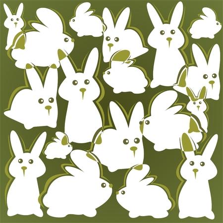 Cartoon  rabbits pattern on a green background. Easter illustration. Illustration