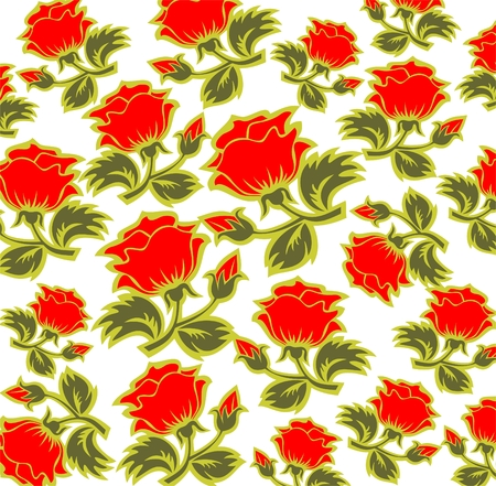 Cartoon  red roses pattern on a white background. Illustration