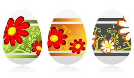 Three Easter eggs  isolated on a white background. Vector