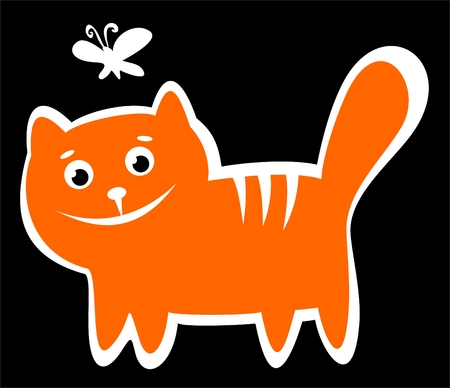 Cartoon happy cat isolated on a black background. Vector