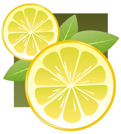 Stylized lemon slices and leaves on a dark background.