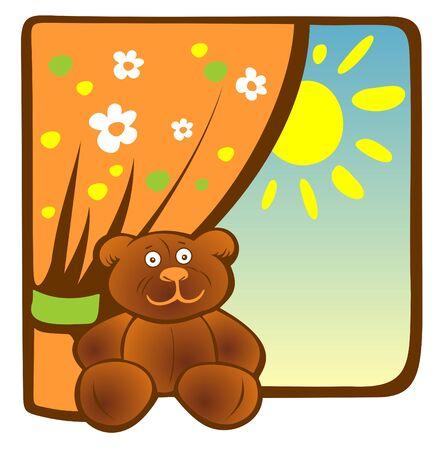 windowsill: Cartoon toy bear sits on a windowsill. Illustration