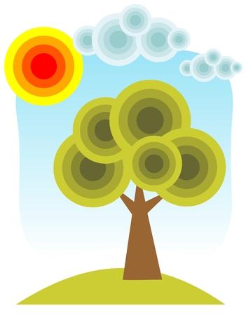 Cartoon tree and sun on a blue sky background. Vector